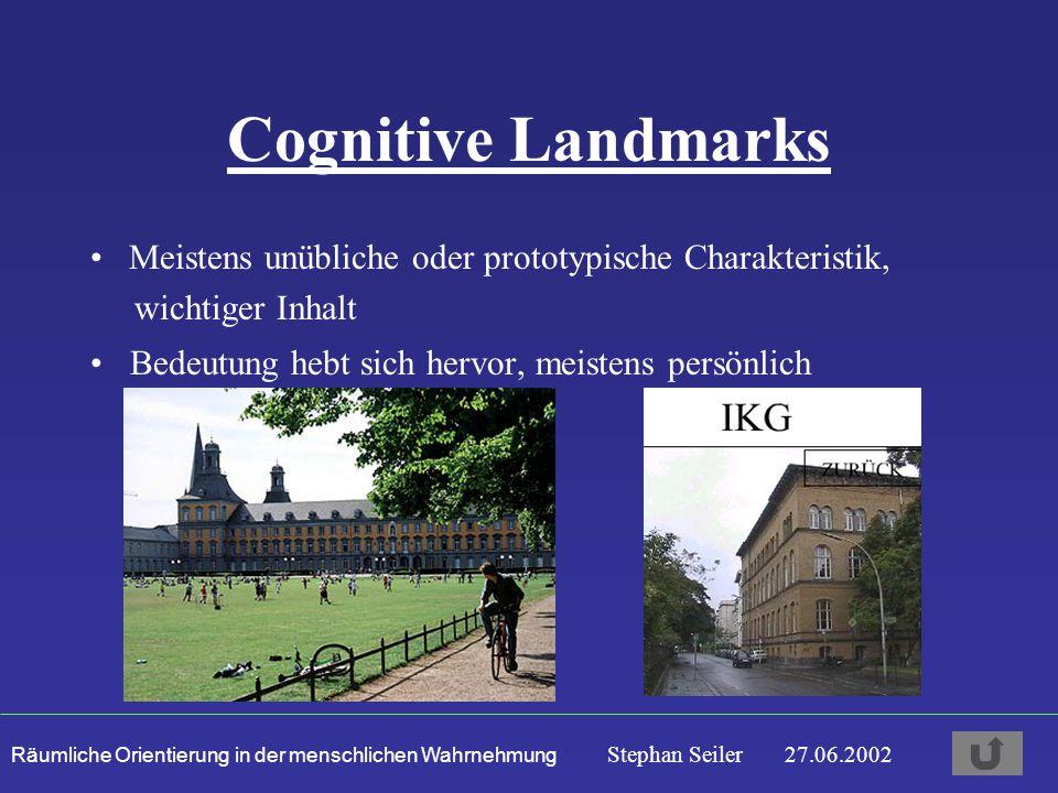 Räumliche Orientierung in der menschlichen Wahrnehmung Stephan Seiler 27.06.2002 Cognitive Landmarks Bedeutung hebt sich hervor, meistens persönlich Meistens unübliche oder prototypische Charakteristik, wichtiger Inhalt