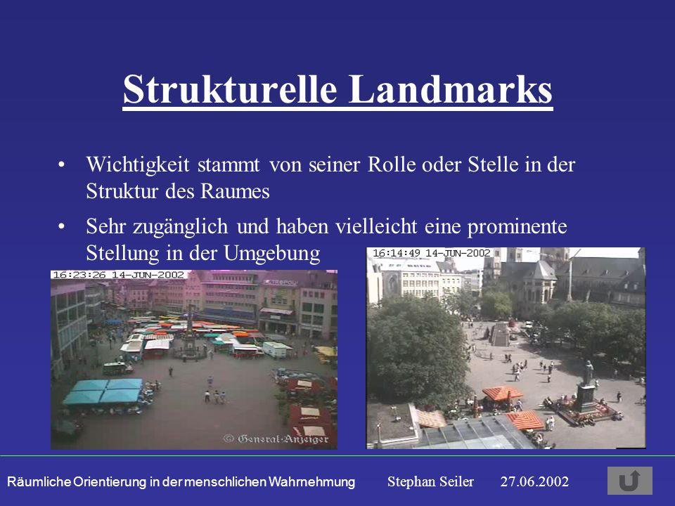 Räumliche Orientierung in der menschlichen Wahrnehmung Stephan Seiler 27.06.2002 Strukturelle Landmarks Wichtigkeit stammt von seiner Rolle oder Stelle in der Struktur des Raumes Sehr zugänglich und haben vielleicht eine prominente Stellung in der Umgebung