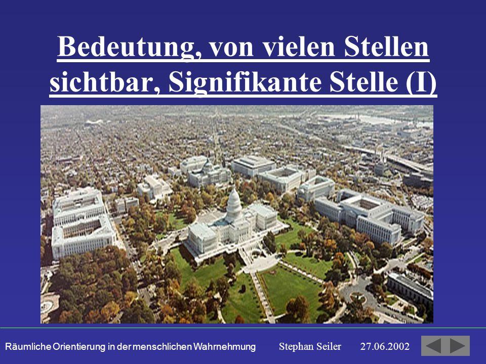 Räumliche Orientierung in der menschlichen Wahrnehmung Stephan Seiler 27.06.2002 Bedeutung, von vielen Stellen sichtbar, Signifikante Stelle (I)