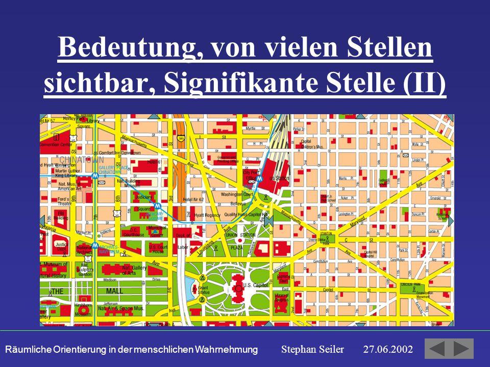 Räumliche Orientierung in der menschlichen Wahrnehmung Stephan Seiler 27.06.2002 Bedeutung, von vielen Stellen sichtbar, Signifikante Stelle (II)