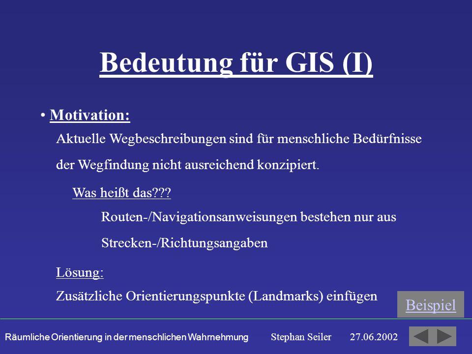 Räumliche Orientierung in der menschlichen Wahrnehmung Stephan Seiler 27.06.2002 Bedeutung für GIS (I) Motivation: Aktuelle Wegbeschreibungen sind für menschliche Bedürfnisse der Wegfindung nicht ausreichend konzipiert.
