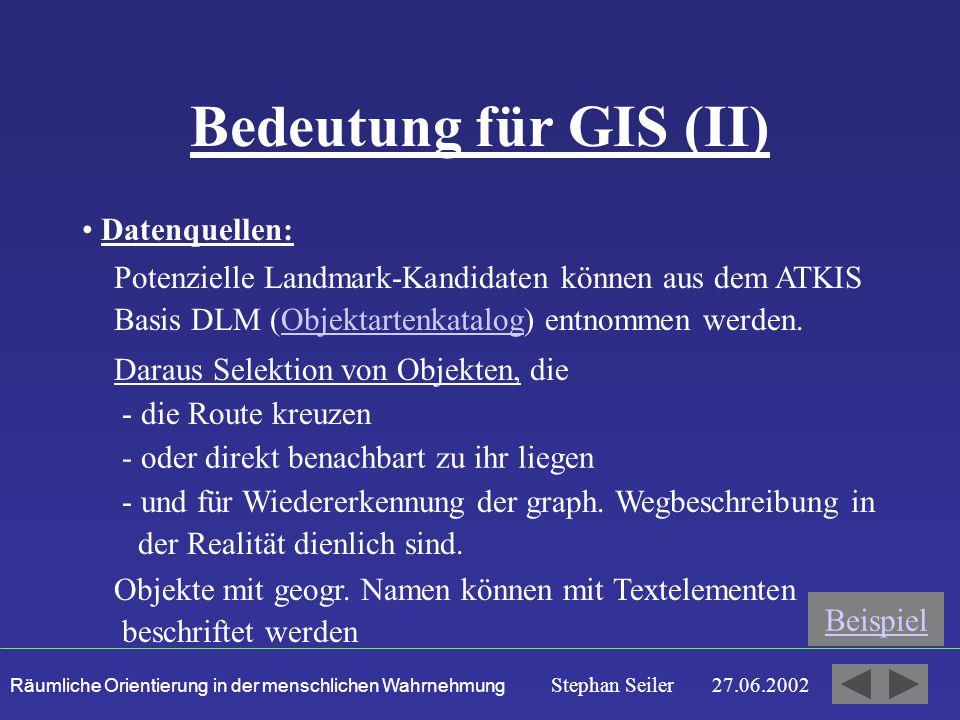 Räumliche Orientierung in der menschlichen Wahrnehmung Stephan Seiler 27.06.2002 Bedeutung für GIS (II) Datenquellen: Daraus Selektion von Objekten, die - die Route kreuzen - oder direkt benachbart zu ihr liegen - und für Wiedererkennung der graph.