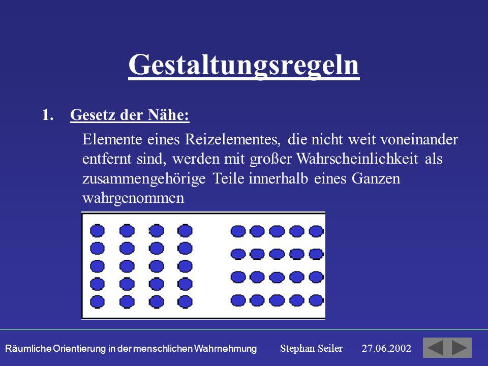 Räumliche Orientierung in der menschlichen Wahrnehmung Stephan Seiler 27.06.2002 Gestaltungsregeln 1.