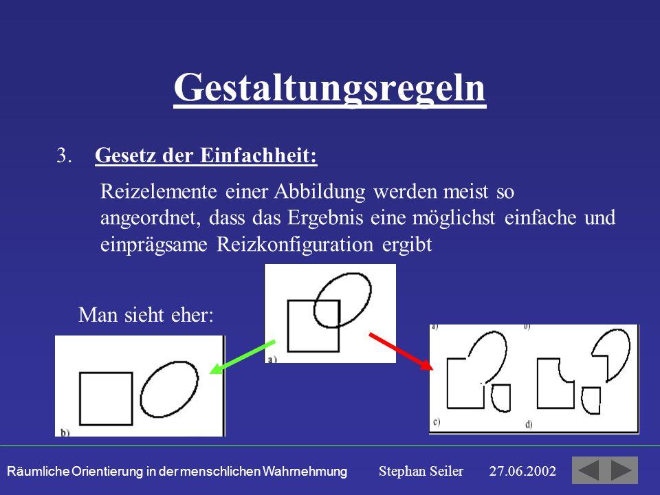 Räumliche Orientierung in der menschlichen Wahrnehmung Stephan Seiler 27.06.2002 Gestaltungsregeln 3.