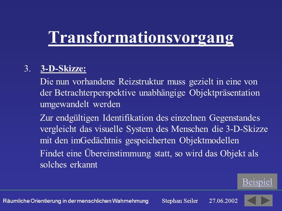 Räumliche Orientierung in der menschlichen Wahrnehmung Stephan Seiler 27.06.2002 Transformationsvorgang 3.