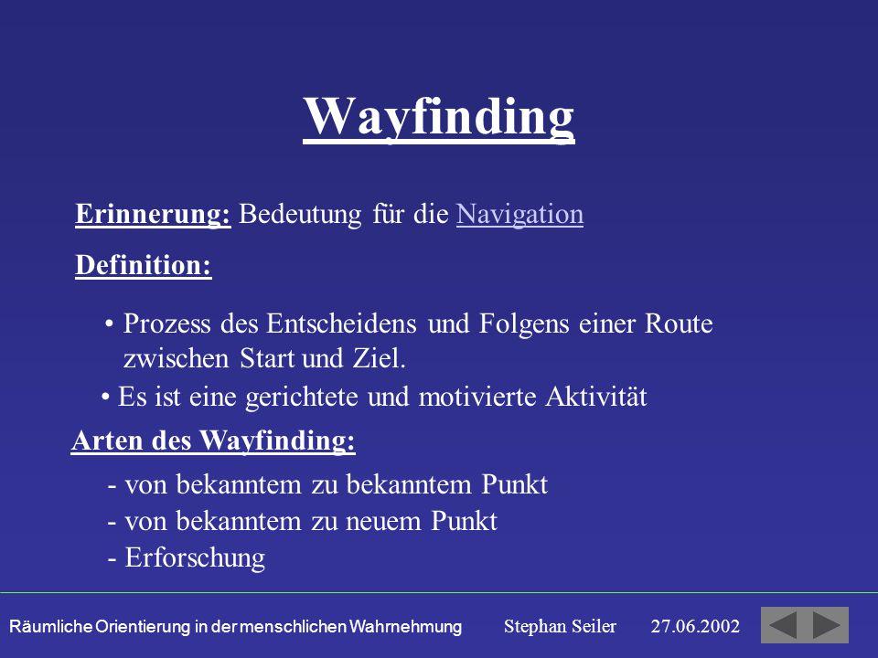 Räumliche Orientierung in der menschlichen Wahrnehmung Stephan Seiler 27.06.2002 Wayfinding Erinnerung: Bedeutung für die NavigationNavigation Definition: Prozess des Entscheidens und Folgens einer Route zwischen Start und Ziel.