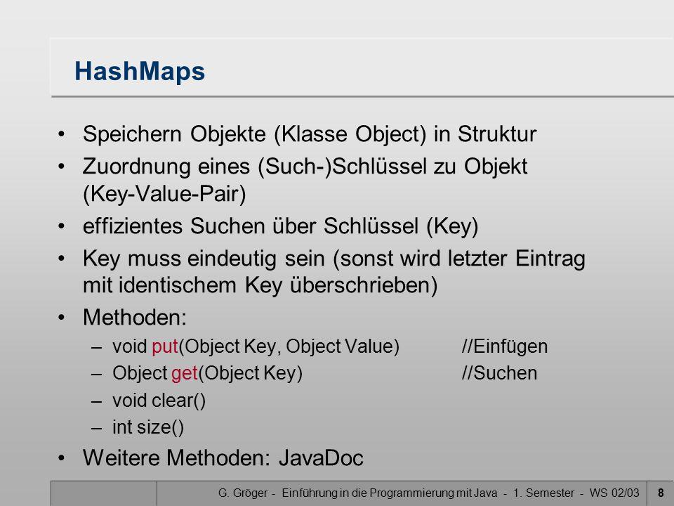 G. Gröger - Einführung in die Programmierung mit Java - 1. Semester - WS 02/0329 Erzeugte Attribute