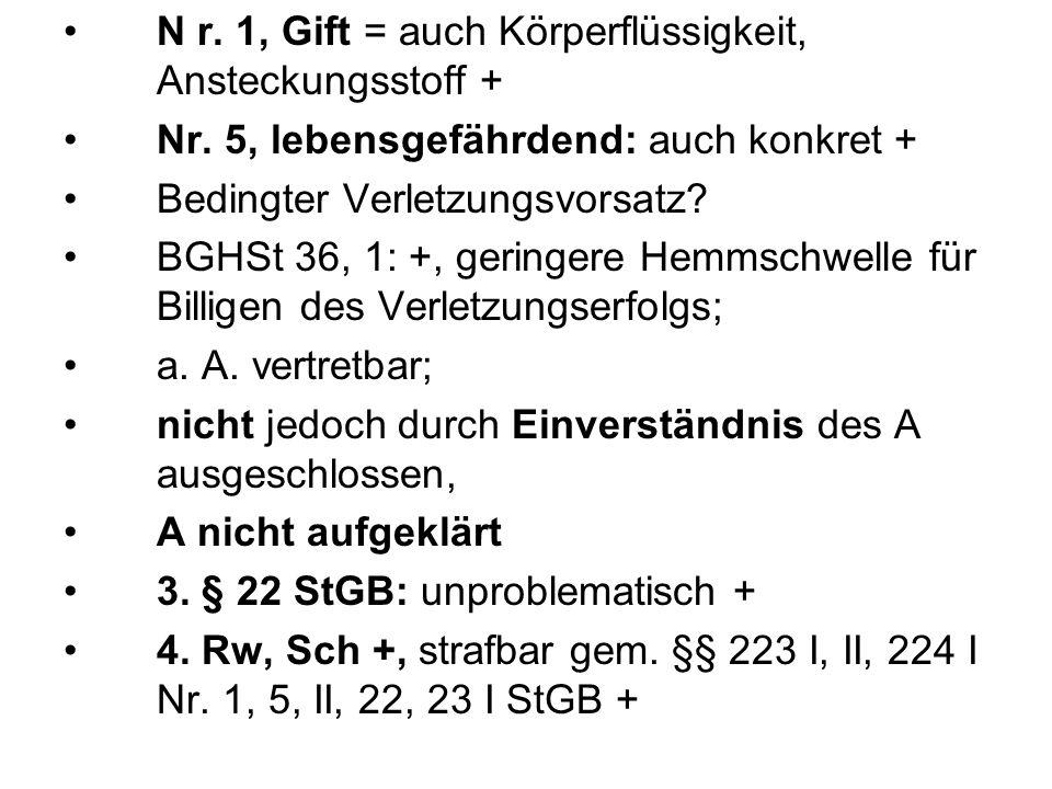 N r. 1, Gift = auch Körperflüssigkeit, Ansteckungsstoff + Nr. 5, lebensgefährdend: auch konkret + Bedingter Verletzungsvorsatz? BGHSt 36, 1: +, gering