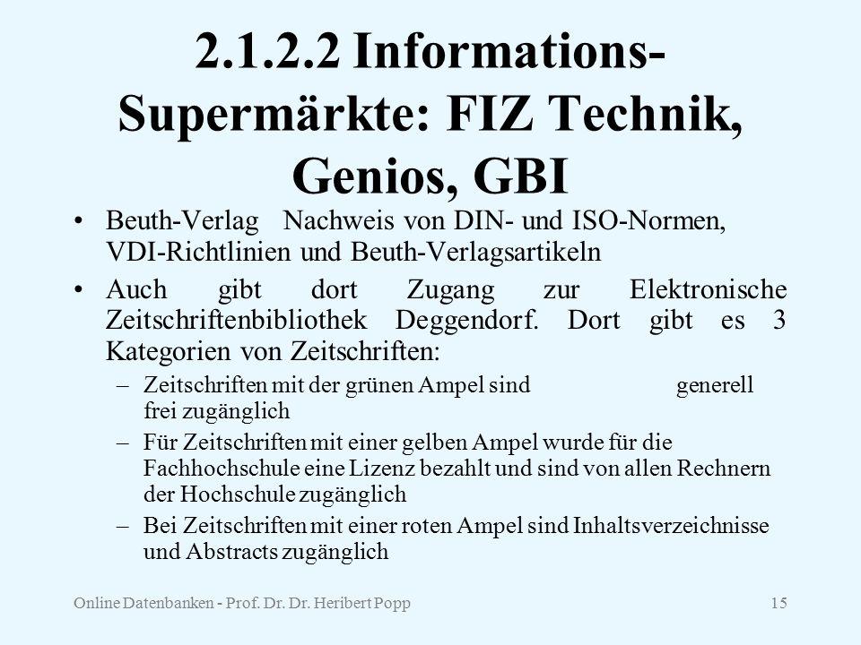 Online Datenbanken - Prof. Dr. Dr. Heribert Popp15 2.1.2.2 Informations- Supermärkte: FIZ Technik, Genios, GBI Beuth-Verlag Nachweis von DIN- und ISO-