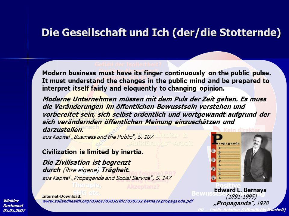Winkler Dortmund 05.05.2007 Die Gesellschaft und Ich (der/die Stotternde) Stotternder/ Stotterer/ stotternder Mensch Gesellschaft Positive Bewusstsein