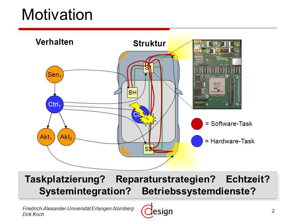 3 Friedrich-Alexander-Universität Erlangen-Nürnberg Dirk Koch Gliederung  Motivation  Replikaplatzierung  Reparaturstrategien  Task-Migration in TDMA-Netzwerken  Systemintegration / Betriebssytemdienste  Rekonfigurierbare Kommunikation  ReCoBus-Builder  Kopplung ReCoNodes – ReCoNets  Bearbeitungsstand