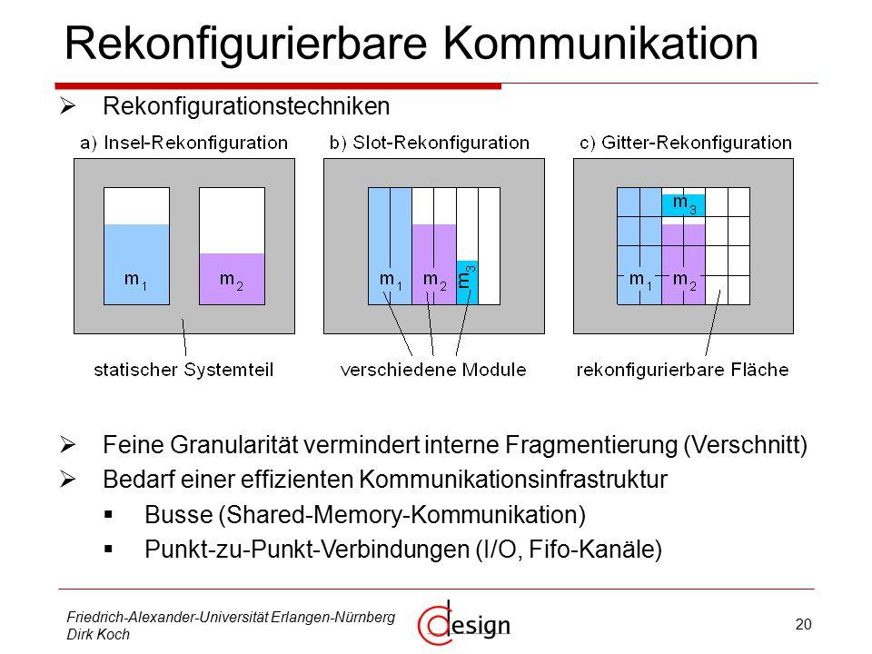 20 Friedrich-Alexander-Universität Erlangen-Nürnberg Dirk Koch Rekonfigurierbare Kommunikation  Rekonfigurationstechniken  Feine Granularität vermindert interne Fragmentierung (Verschnitt)  Bedarf einer effizienten Kommunikationsinfrastruktur  Busse (Shared-Memory-Kommunikation)  Punkt-zu-Punkt-Verbindungen (I/O, Fifo-Kanäle)