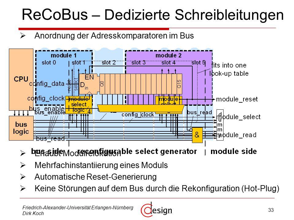 33 Friedrich-Alexander-Universität Erlangen-Nürnberg Dirk Koch ReCoBus – Dedizierte Schreibleitungen  Anordnung der Adresskomparatoren im Bus  Erlaubt Modulrelokation  Mehrfachinstantiierung eines Moduls  Automatische Reset-Generierung  Keine Störungen auf dem Bus durch die Rekonfiguration (Hot-Plug)