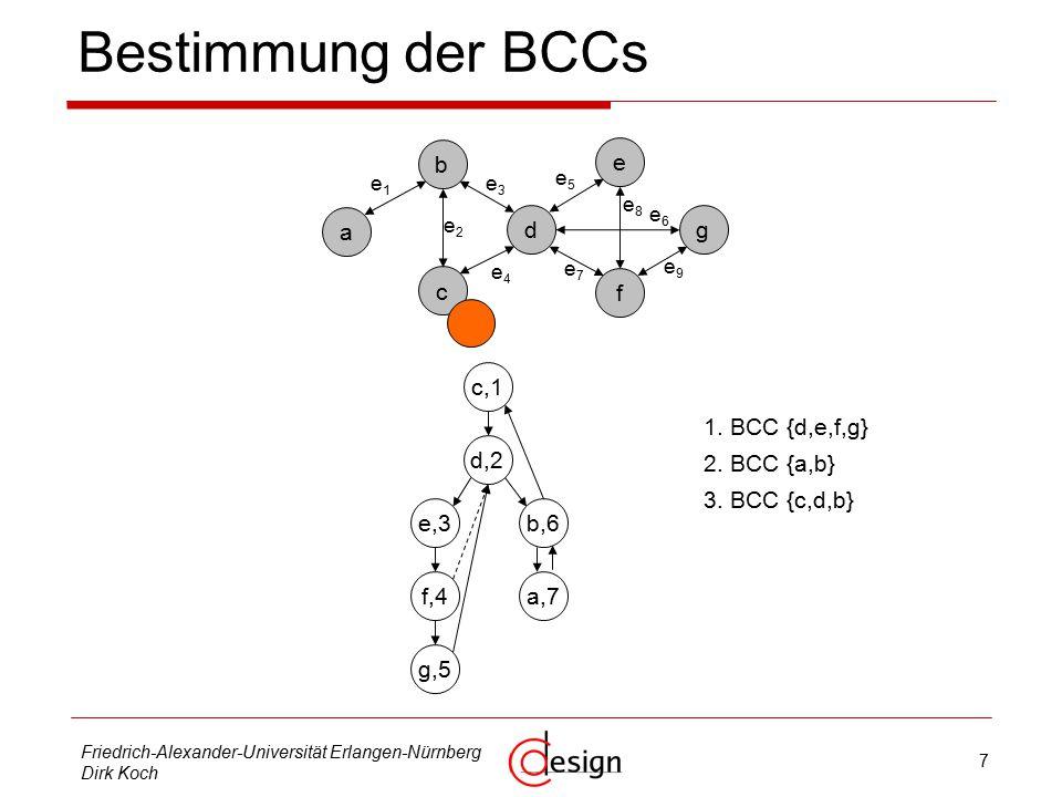 7 Friedrich-Alexander-Universität Erlangen-Nürnberg Dirk Koch Bestimmung der BCCs b d c g e f a e1e1 e3e3 e2e2 e4e4 e5e5 e6e6 e8e8 e9e9 e7e7 c,1 d,2 e,3 f,4 g,5 b,6 a,7 1.