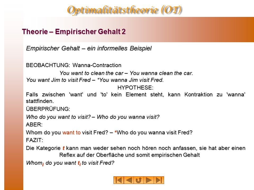 Empirischer Gehalt – ein informelles Beispiel BEOBACHTUNG: Wanna-Contraction You want to clean the car – You wanna clean the car. You want Jim to visi