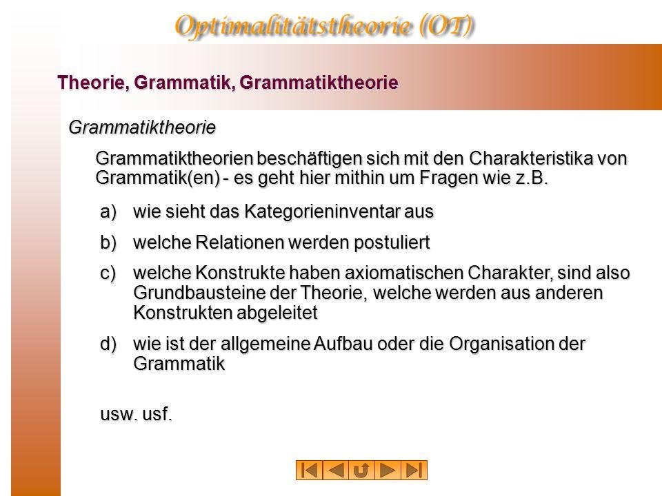 Theorie, Grammatik, Grammatiktheorie Grammatiktheorie Grammatiktheorien beschäftigen sich mit den Charakteristika von Grammatik(en) - es geht hier mithin um Fragen wie z.B.
