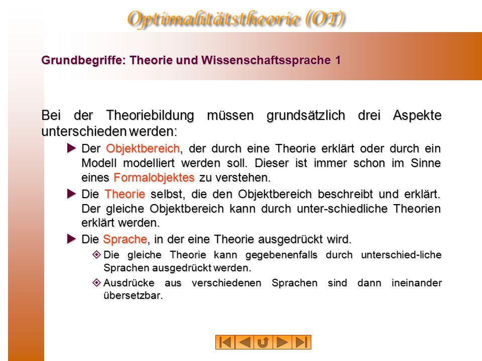 Grundbegriffe: Theorie und Wissenschaftssprache 1 Bei der Theoriebildung müssen grundsätzlich drei Aspekte unterschieden werden:  Der Objektbereich, der durch eine Theorie erklärt oder durch ein Modell modelliert werden soll.