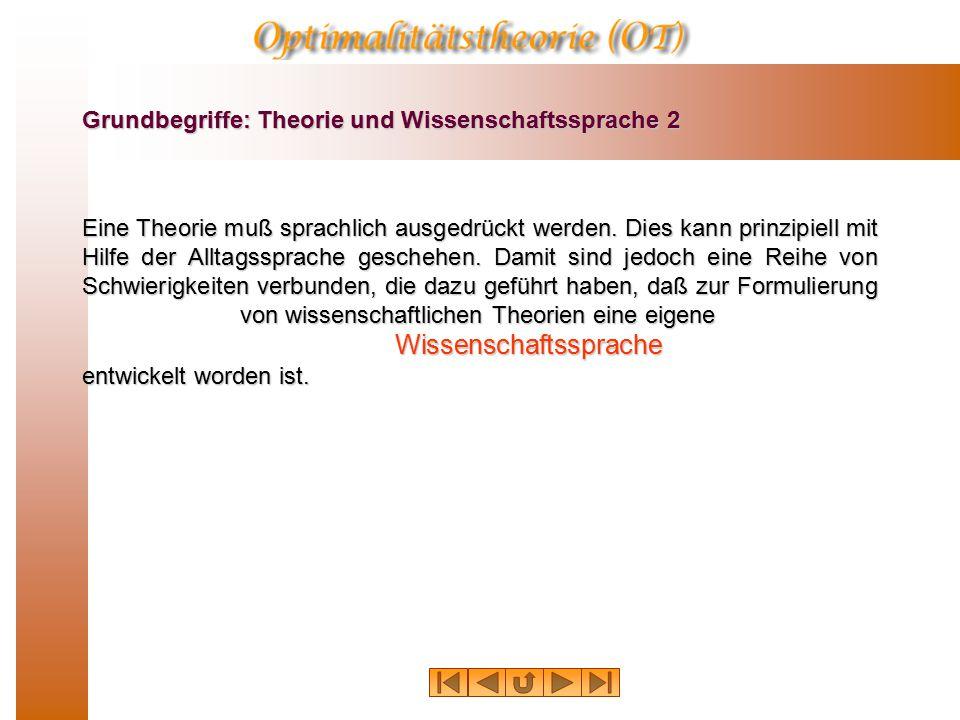 Grundbegriffe: Theorie und Wissenschaftssprache 2 Eine Theorie muß sprachlich ausgedrückt werden.