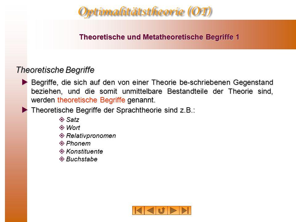 Theoretische und Metatheoretische Begriffe 1 Theoretische Begriffe  Begriffe, die sich auf den von einer Theorie be-schriebenen Gegenstand beziehen, und die somit unmittelbare Bestandteile der Theorie sind, werden theoretische Begriffe genannt.