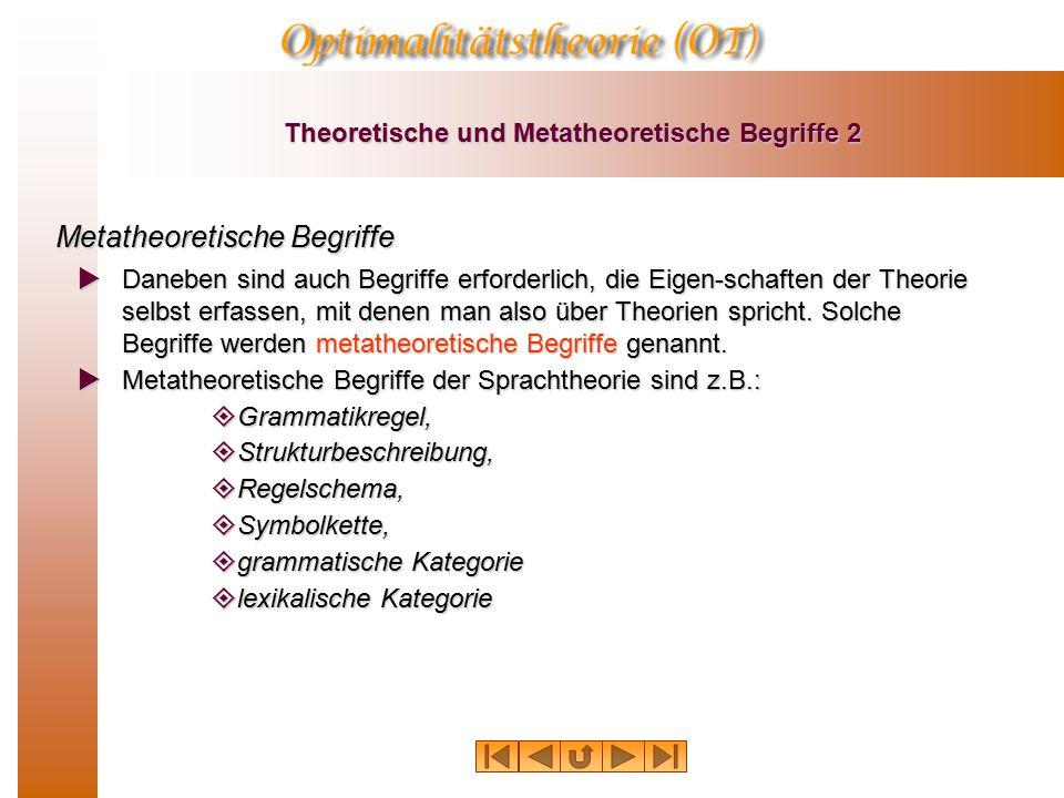 Theoretische und Metatheoretische Begriffe 2 Metatheoretische Begriffe  Daneben sind auch Begriffe erforderlich, die Eigen-schaften der Theorie selbst erfassen, mit denen man also über Theorien spricht.