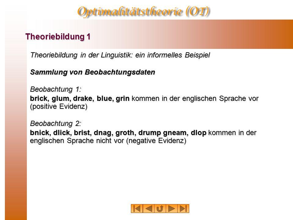 Theoriebildung in der Linguistik: ein informelles Beispiel Hypothesenbildung (Verallgemeinerung) Hypothese 1: Die Lautverbindungen b+l und b+r sowie g+l und g+r sowie d+r sind prinzipiell mögliche Anlautverbindungen im Englischen.