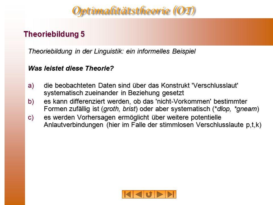 Theoriebildung in der Linguistik: ein informelles Beispiel Was leistet diese Theorie.
