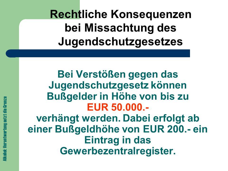 Bei Verstößen gegen das Jugendschutzgesetz können Bußgelder in Höhe von bis zu EUR 50.000.- verhängt werden.