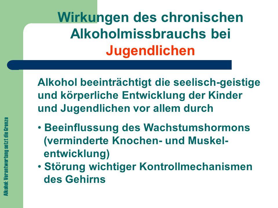 Alkohol: Verantwortung setzt die Grenze Wirkungen des chronischen Alkoholmissbrauchs bei Jugendlichen Alkohol beeinträchtigt die seelisch-geistige und körperliche Entwicklung der Kinder und Jugendlichen vor allem durch Beeinflussung des Wachstumshormons (verminderte Knochen- und Muskel- entwicklung) Störung wichtiger Kontrollmechanismen des Gehirns