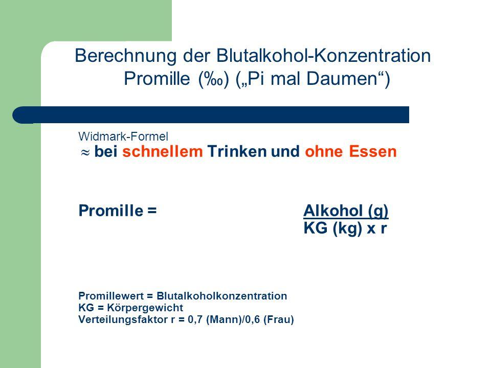 """Widmark-Formel  bei schnellem Trinken und ohne Essen Promille =Alkohol (g) KG (kg) x r Promillewert = Blutalkoholkonzentration KG = Körpergewicht Verteilungsfaktor r = 0,7 (Mann)/0,6 (Frau) Berechnung der Blutalkohol-Konzentration Promille (‰) (""""Pi mal Daumen )"""