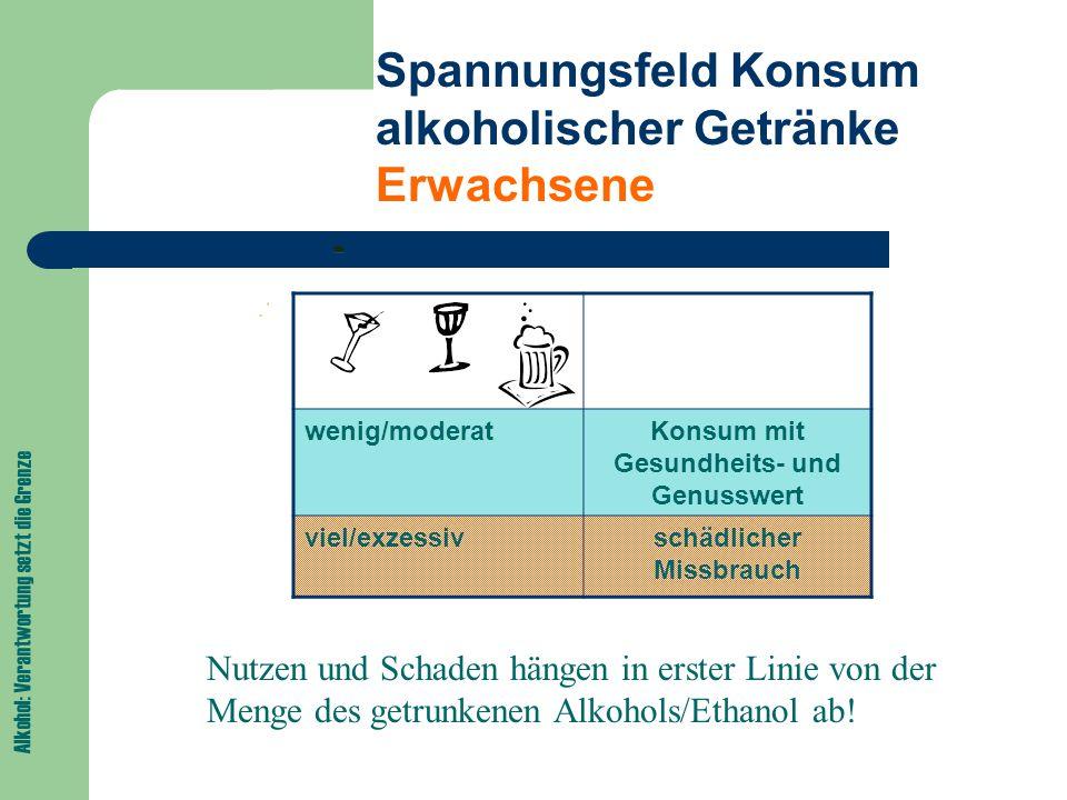 Alkohol: Verantwortung setzt die Grenze Spannungsfeld Konsum alkoholischer Getränke Kinder und Jugendliche wenig/moderatKonsum mit Gesundheits- und Genusswert viel/exzessivschädlicher Missbrauch Kindern und Jugendlichen schadet jeglicher Konsum alkoholischer Getränke!