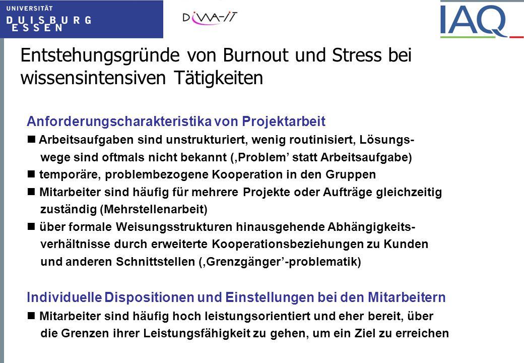 Entstehungsgründe von Burnout und Stress bei wissensintensiven Tätigkeiten Anforderungscharakteristika von Projektarbeit Arbeitsaufgaben sind unstrukt