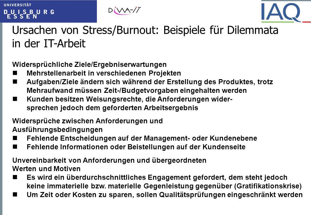 Ursachen von Stress/Burnout: Beispiele für Dilemmata in der IT-Arbeit Widersprüchliche Ziele/Ergebniserwartungen Mehrstellenarbeit in verschiedenen Pr