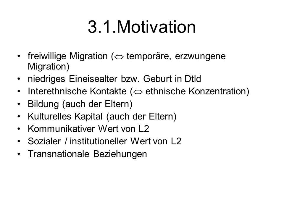 3.1.Motivation freiwillige Migration (  temporäre, erzwungene Migration) niedriges Eineisealter bzw. Geburt in Dtld Interethnische Kontakte (  ethni
