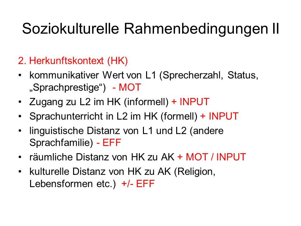 """Soziokulturelle Rahmenbedingungen II 2. Herkunftskontext (HK) kommunikativer Wert von L1 (Sprecherzahl, Status, """"Sprachprestige"""") - MOT Zugang zu L2 i"""