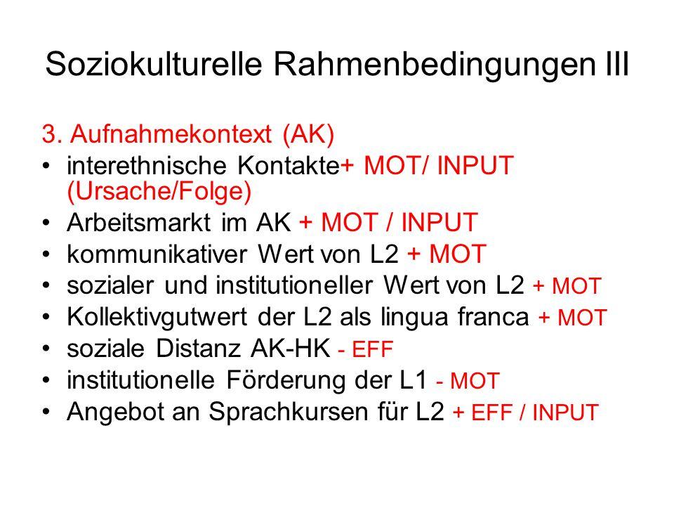 Soziokulturelle Rahmenbedingungen III 3. Aufnahmekontext (AK) interethnische Kontakte+ MOT/ INPUT (Ursache/Folge) Arbeitsmarkt im AK + MOT / INPUT kom