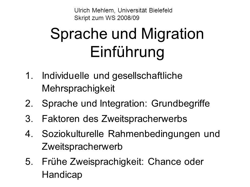 Sprache und Migration Einführung 1.Individuelle und gesellschaftliche Mehrsprachigkeit 2.Sprache und Integration: Grundbegriffe 3.Faktoren des Zweitsp