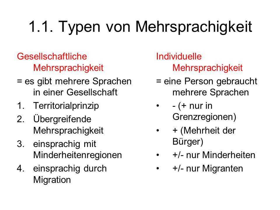 1.1. Typen von Mehrsprachigkeit Gesellschaftliche Mehrsprachigkeit = es gibt mehrere Sprachen in einer Gesellschaft 1.Territorialprinzip 2.Übergreifen