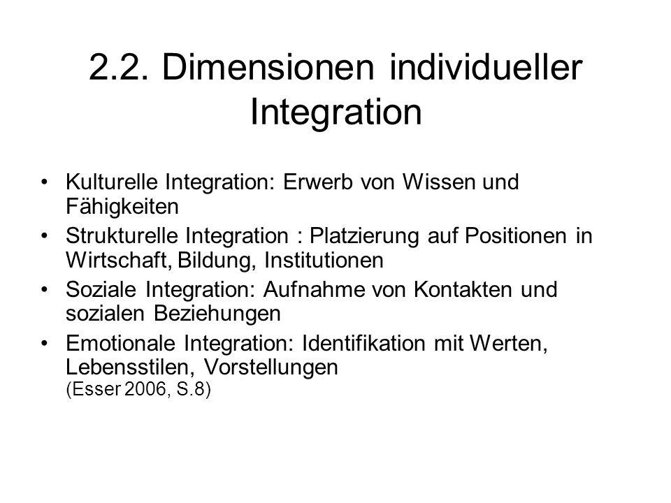 2.2. Dimensionen individueller Integration Kulturelle Integration: Erwerb von Wissen und Fähigkeiten Strukturelle Integration : Platzierung auf Positi