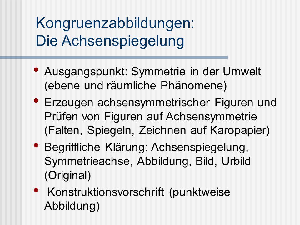 Kongruenzabbildungen: Die Achsenspiegelung Ausgangspunkt: Symmetrie in der Umwelt (ebene und räumliche Phänomene) Erzeugen achsensymmetrischer Figuren