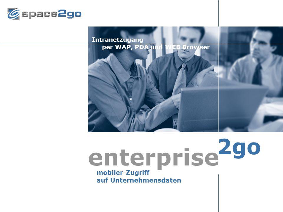Seite 6© 2002 space2go.com26. Februar 2002 mobiler Zugriff auf Unternehmensdaten enterprise 2go Intranetzugang per WAP, PDA und WEB Browser