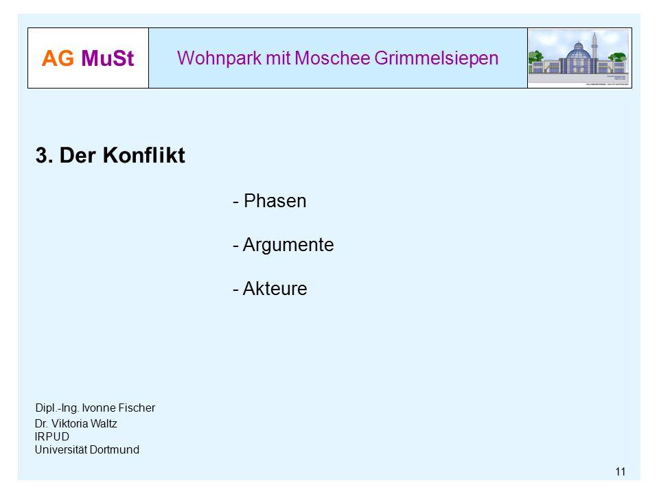 AG MuSt Wohnpark mit Moschee Grimmelsiepen Dr. Viktoria Waltz IRPUD Universität Dortmund 3. Der Konflikt - Phasen - Argumente - Akteure Dipl.-Ing. Ivo