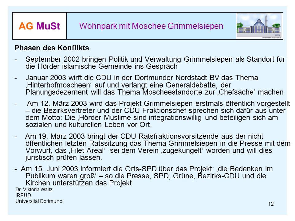 AG MuSt Wohnpark mit Moschee Grimmelsiepen Dr. Viktoria Waltz IRPUD Universität Dortmund Phasen des Konflikts -September 2002 bringen Politik und Verw