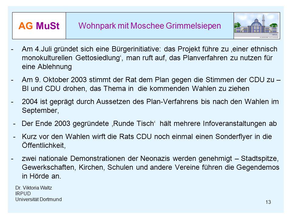 AG MuSt Wohnpark mit Moschee Grimmelsiepen Dr. Viktoria Waltz IRPUD Universität Dortmund -Am 4.Juli gründet sich eine Bürgerinitiative: das Projekt fü