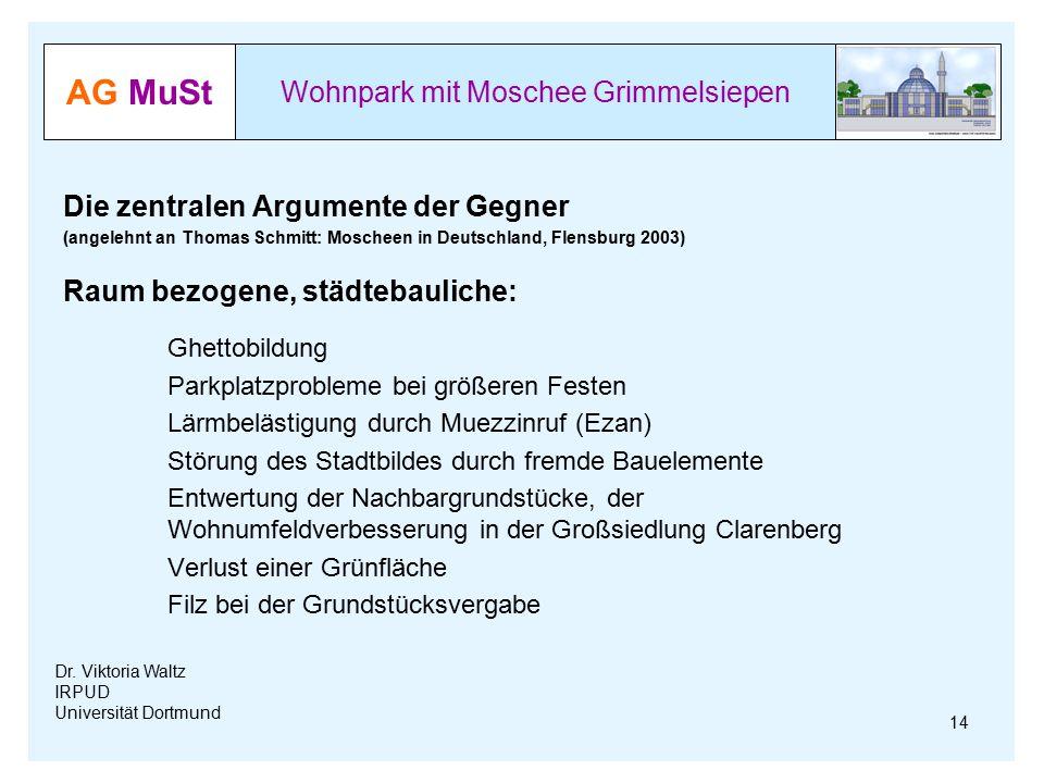 AG MuSt Wohnpark mit Moschee Grimmelsiepen Dr. Viktoria Waltz IRPUD Universität Dortmund Die zentralen Argumente der Gegner (angelehnt an Thomas Schmi