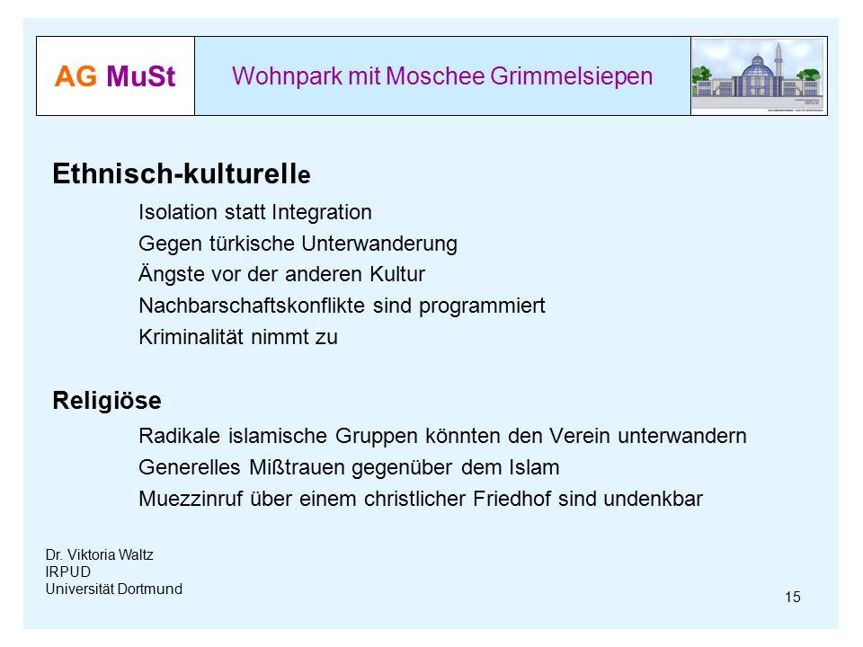 AG MuSt Wohnpark mit Moschee Grimmelsiepen Dr. Viktoria Waltz IRPUD Universität Dortmund Ethnisch-kulturell e Isolation statt Integration Gegen türkis