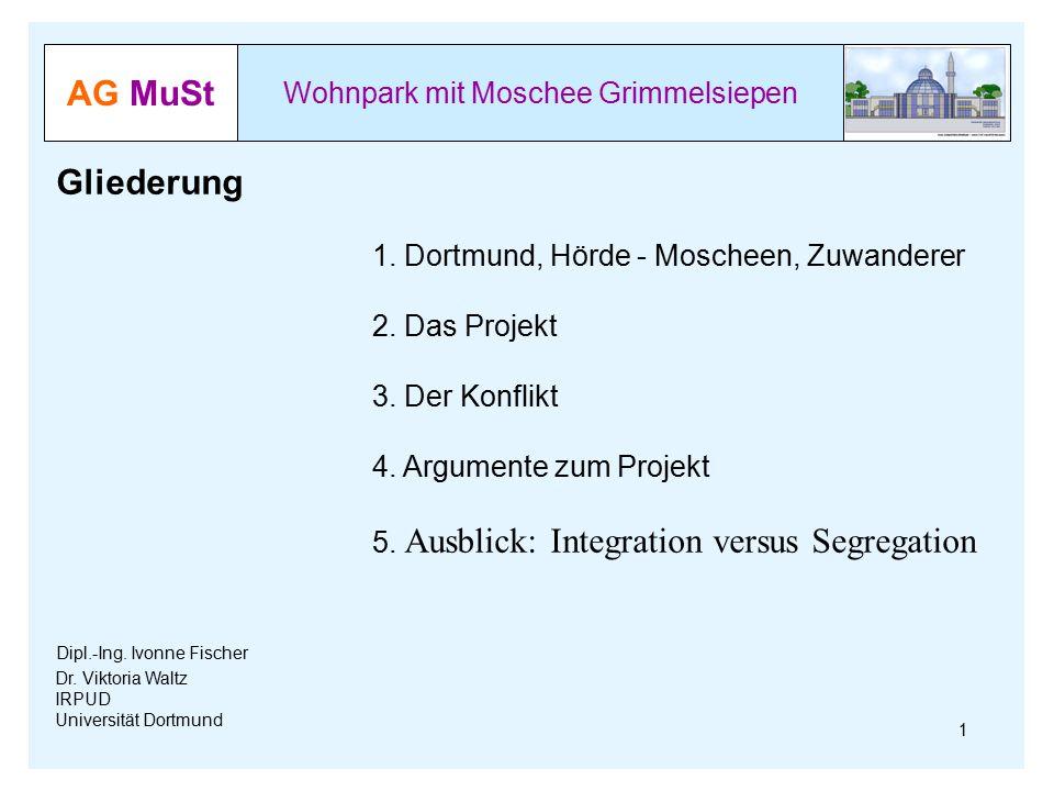 AG MuSt Wohnpark mit Moschee Grimmelsiepen Dr. Viktoria Waltz IRPUD Universität Dortmund Gliederung 1. Dortmund, Hörde - Moscheen, Zuwanderer 2. Das P