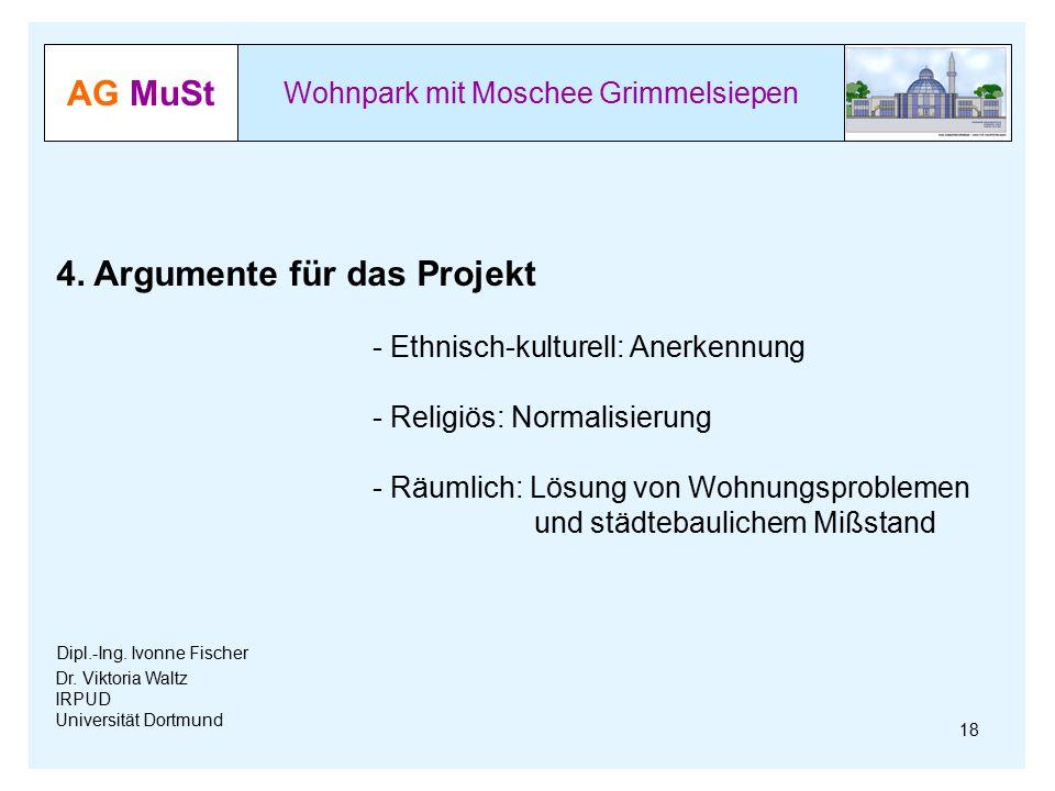 AG MuSt Wohnpark mit Moschee Grimmelsiepen Dr. Viktoria Waltz IRPUD Universität Dortmund 18 4. Argumente für das Projekt - Ethnisch-kulturell: Anerken