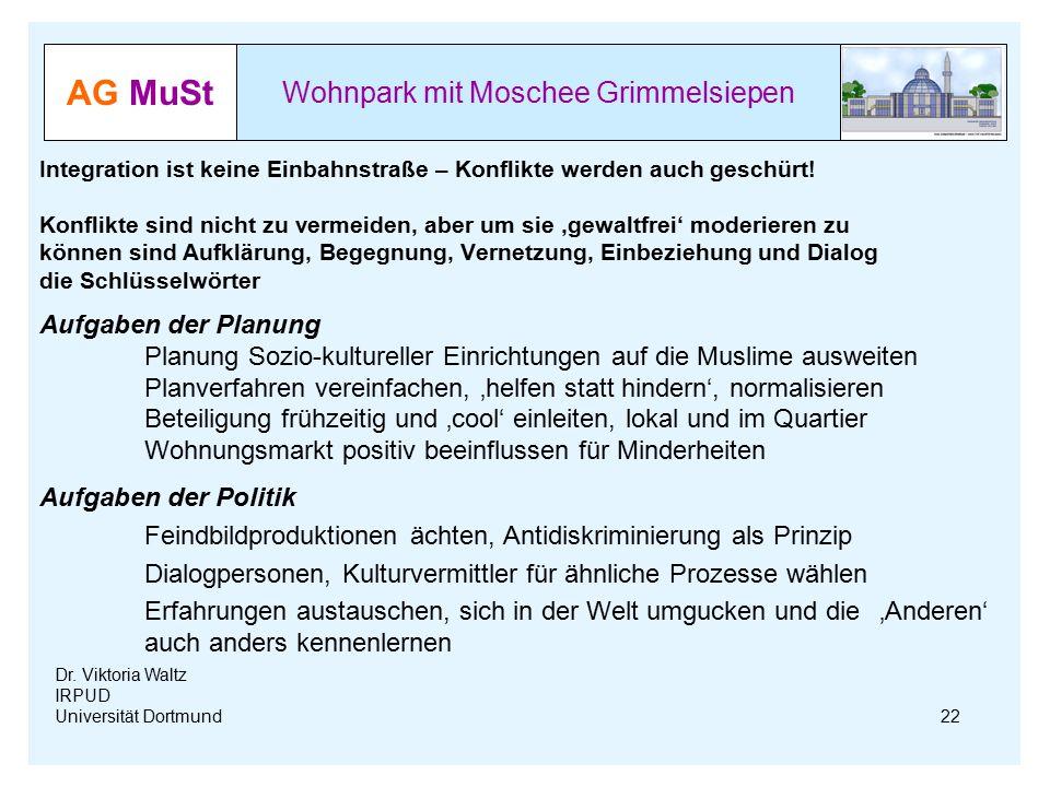 AG MuSt Wohnpark mit Moschee Grimmelsiepen Dr. Viktoria Waltz IRPUD Universität Dortmund Integration ist keine Einbahnstraße – Konflikte werden auch g