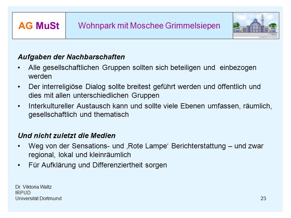 AG MuSt Wohnpark mit Moschee Grimmelsiepen Dr. Viktoria Waltz IRPUD Universität Dortmund Aufgaben der Nachbarschaften Alle gesellschaftlichen Gruppen