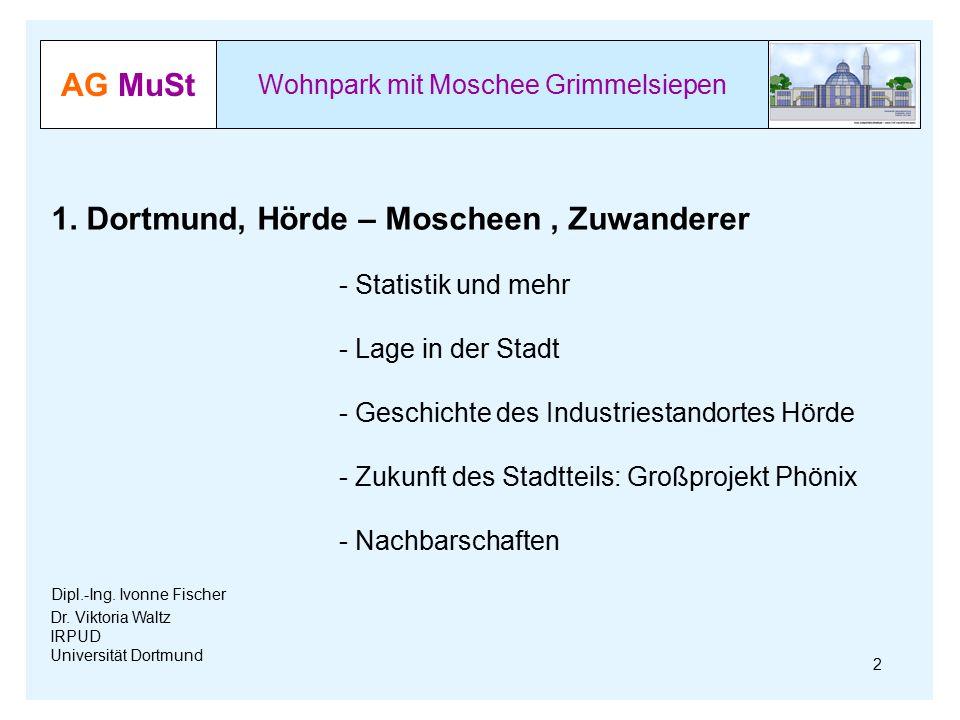 AG MuSt Wohnpark mit Moschee Grimmelsiepen Dr. Viktoria Waltz IRPUD Universität Dortmund 2 1. Dortmund, Hörde – Moscheen, Zuwanderer - Statistik und m